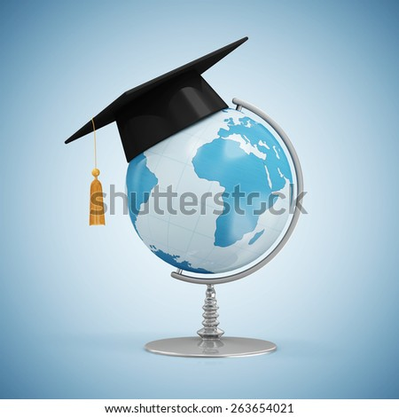 Education Concept. Desk Globe with Graduation Cap on blue gradient background (Elements of this image furnished by NASA) - stock photo