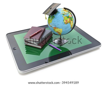 Education concept. E-learning. Globe and stack of books on digital tablet in the design of information related to education - stock photo