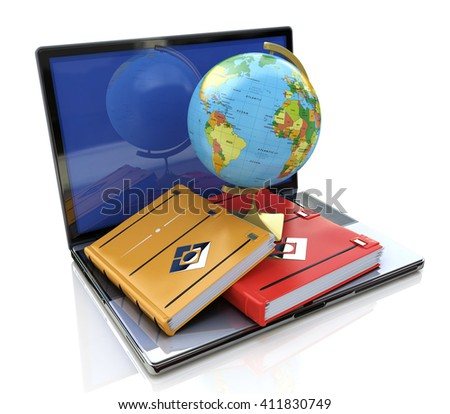 Education concept. e-learning in the world in the design of information related to education.3D illustration - stock photo