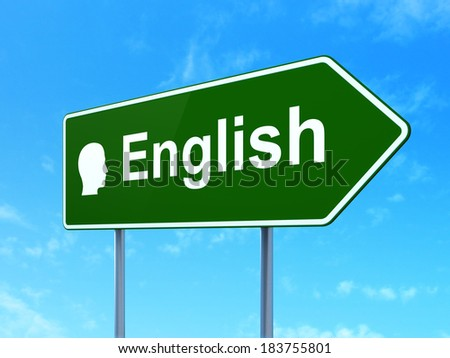 Education concept: English and Head icon on green road (highway) sign, clear blue sky background, 3d render