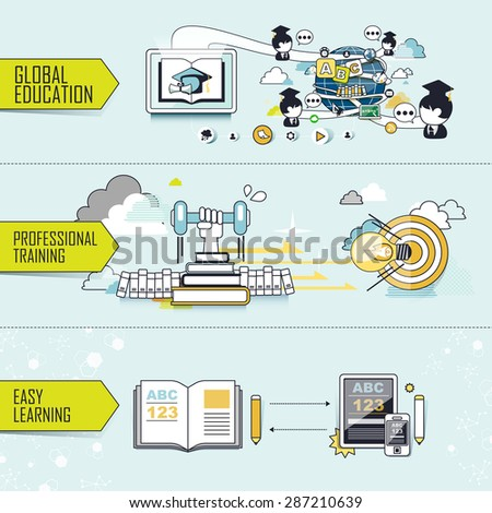 education concept: global education-professional training-easy learning in line style - stock photo