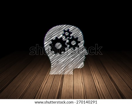 Education concept: Glowing Head With Gears icon in grunge dark room with Wooden Floor, black background, 3d render - stock photo