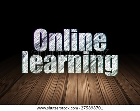 Education concept: Glowing text Online Learning in grunge dark room with Wooden Floor, black background, 3d render - stock photo