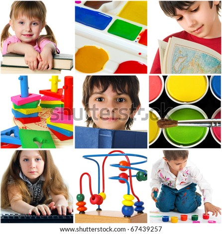 Education concept. Group of carefree children - stock photo