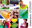 Education concept. Group of carefree teenagers - stock photo