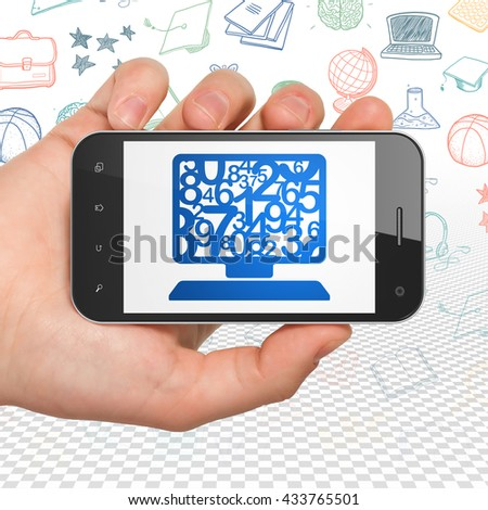 Education concept: Hand Holding Smartphone with  blue Computer Pc icon on display,  Hand Drawn Education Icons background, 3D rendering - stock photo