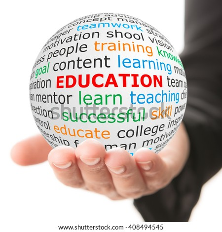 Education concept. Hand take white ball with big red inscription education. - stock photo