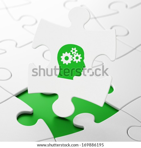 Education concept: Head With Gears on White puzzle pieces background, 3d render - stock photo