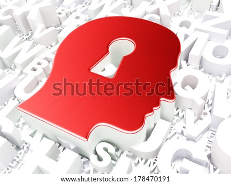 Education concept: Head With Keyhole on alphabet background, 3d render