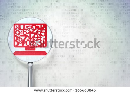 Education concept: magnifying optical glass with Computer Pc icon on digital background, empty copyspace for card, text, advertising, 3d render - stock photo