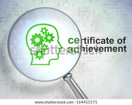 Education concept: magnifying optical glass with Head With Gears icon and Certificate of Achievement word on digital background, 3d render - stock photo