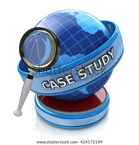 Education concept: magnifying optical glass with words Case Study on globe, 3d render in the design of information related to education - stock photo