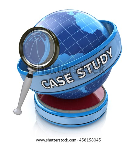 Education concept: magnifying optical glass with words Case Study on globe, 3d render in the design of information related to education. 3d illustration - stock photo