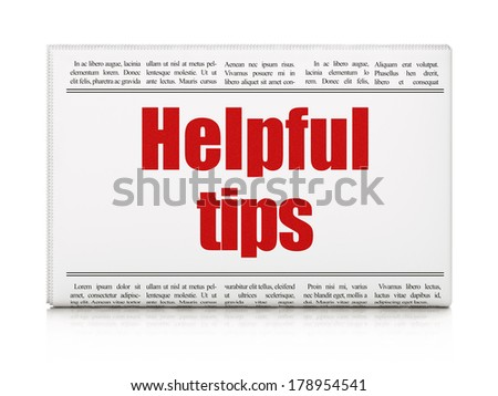 Education concept: newspaper headline Helpful Tips on White background, 3d render - stock photo