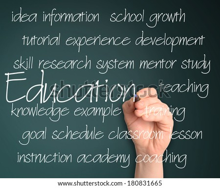 education concept on blackboard - stock photo