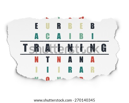 Education concept: Painted black word Training in solving Crossword Puzzle on Torn Paper background, 3d render - stock photo