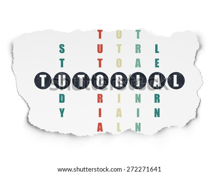 Education concept: Painted black word Tutorial in solving Crossword Puzzle on Torn Paper background, 3d render - stock photo
