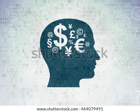 Education concept: Painted blue Head With Finance Symbol icon on Digital Data Paper background with Scheme Of Hand Drawn Education Icons