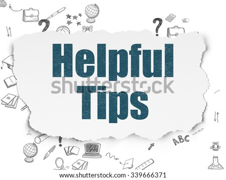 Education concept: Painted blue text Helpful Tips on Torn Paper background with Scheme Of Hand Drawn Education Icons - stock photo