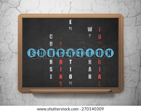Education concept: Painted blue word Education in solving Crossword Puzzle on School Board background, 3d render - stock photo