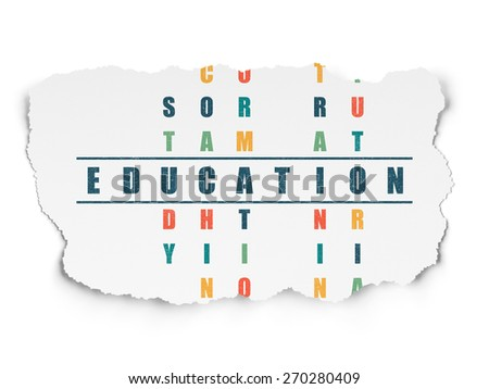 Education concept: Painted blue word Education in solving Crossword Puzzle on Torn Paper background, 3d render - stock photo
