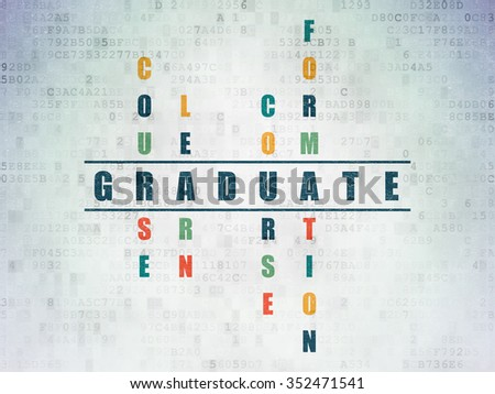 Education concept: Painted blue word Graduate in solving Crossword Puzzle on Digital Paper background - stock photo