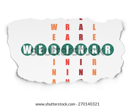Education concept: Painted green word Webinar in solving Crossword Puzzle on Torn Paper background, 3d render - stock photo