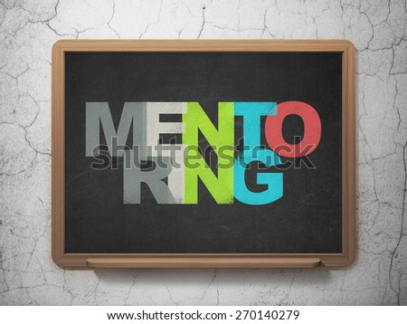 Education concept: Painted multicolor text Mentoring on School Board background with  , 3d render - stock photo
