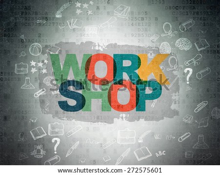 Education concept: Painted multicolor text Workshop on Digital Paper background with Scheme Of Hand Drawn Education Icons, 3d render - stock photo