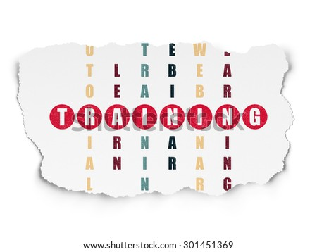 Education concept: Painted red word Training in solving Crossword Puzzle on Torn Paper background, 3d render - stock photo