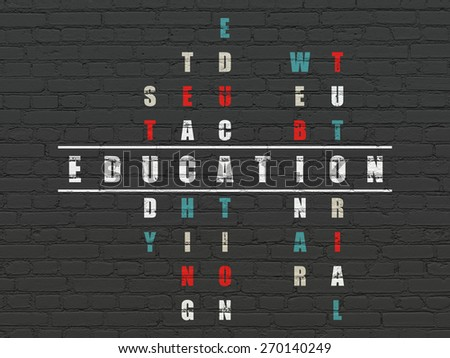 Education concept: Painted white word Education in solving Crossword Puzzle, 3d render - stock photo