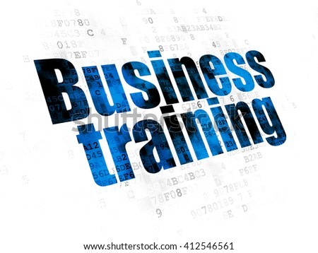 Education concept: Pixelated blue text Business Training on Digital background - stock photo