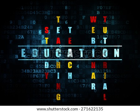 Education concept: Pixelated blue word Education in solving Crossword Puzzle on Digital background, 3d render - stock photo