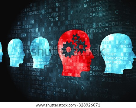 Education concept: pixelated Head With Gears icon on digital background - stock photo