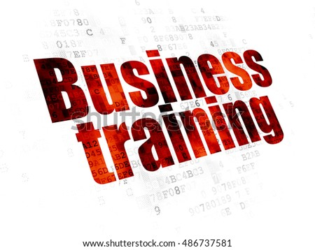 Education concept: Pixelated red text Business Training on Digital background