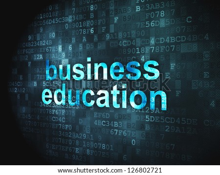 Education concept: pixelated words Business Education on digital background, 3d render - stock photo