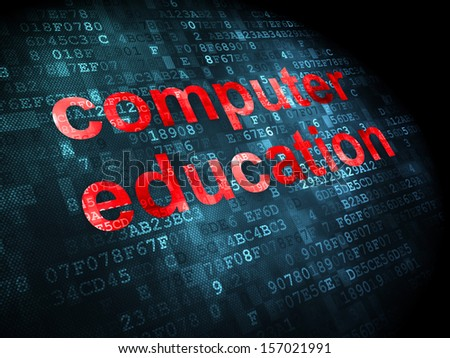 Education concept: pixelated words Computer Education on digital background, 3d render
