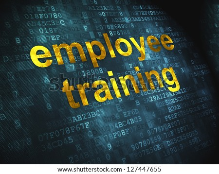 Education concept: pixelated words Employee Training on digital background, 3d render - stock photo