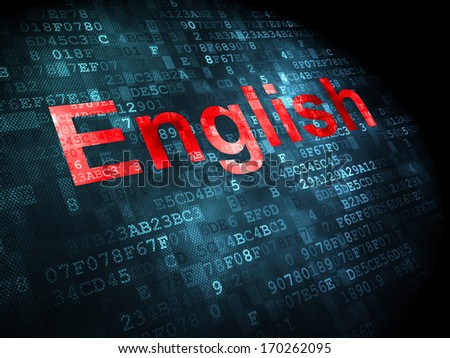 Education concept: pixelated words English on digital background, 3d render