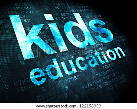 Education concept: pixelated words kids education on digital background, 3d render - stock photo