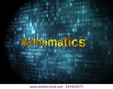 Education concept: pixelated words Mathematics on digital background, 3d render