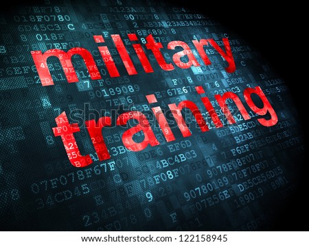 Education concept: pixelated words military training on digital background, 3d render - stock photo