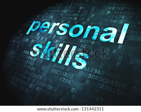 Education concept: pixelated words Personal Skills on digital background, 3d render