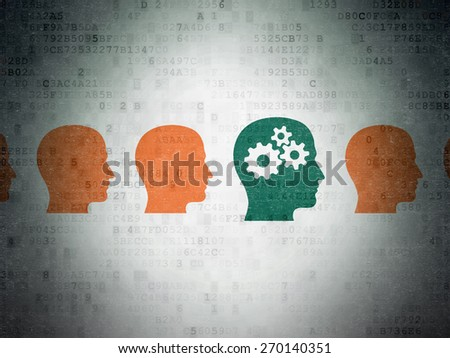 Education concept: row of Painted orange head icons around green head with gears icon on Digital Paper background, 3d render - stock photo