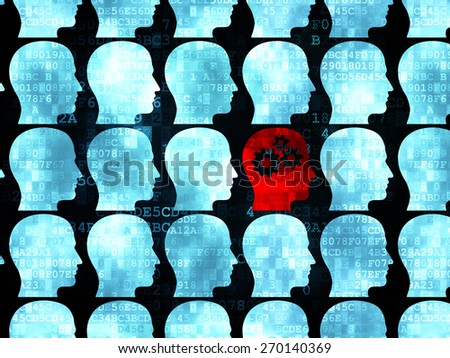 Education concept: rows of Pixelated blue head icons around red head with gears icon on Digital background, 3d render - stock photo