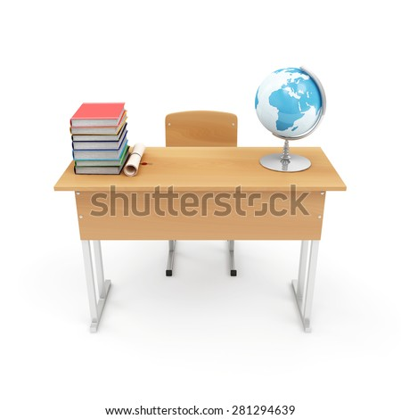 Education Concept. School Desk with School Attributes: Desk Globe, Graduation Cap, Diploma and Books isolated on a white background. 3D Rendering - stock photo