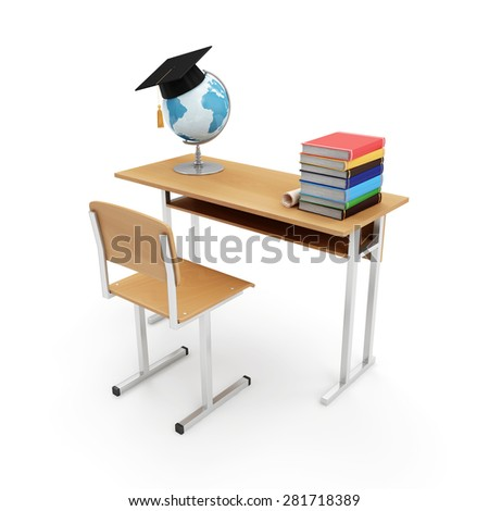 Education Concept. School Desk with School Attributes: Desk Globe, Graduation Cap, Diploma and Books isolated on a white background. 3D Rendering. (Elements of this image furnished by NASA) - stock photo