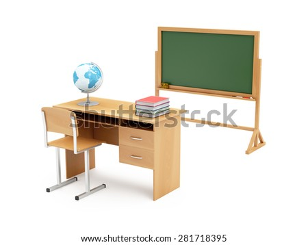 Education Concept. School Desk with School Attributes: Desk Globe, Graduation Cap, Diploma, Books and Chalkboard isolated on white background. 3D Rendering. (Elements of this image furnished by NASA) - stock photo