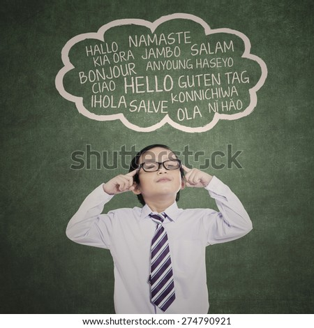 Education concept: schoolboy learn multi-languages at class - stock photo