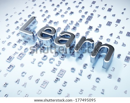Education concept: Silver Learn on digital background, 3d render - stock photo